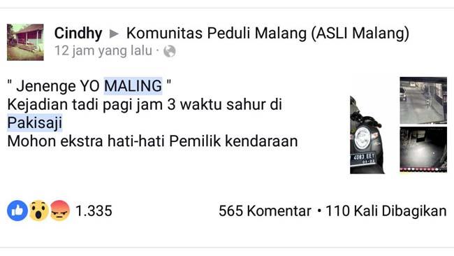 Viral! Pagi Posting Scoopy Hilang di Fesbuk, Sore Ketemu