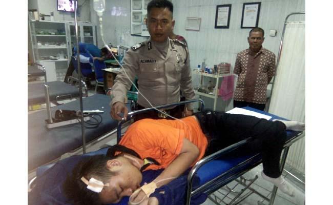 Korban Yucevin Fernandi Putra saat menjalani perawatan medis di RS.Anwar Medica Balongbendo (gus HP)