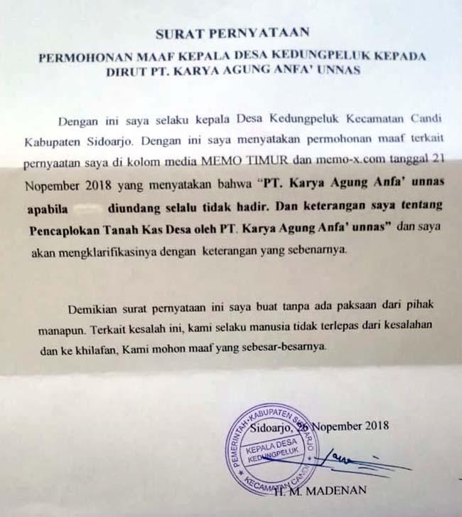 Kades Kedungpeluk Layangkan Surat Permohonan Maaf Ke Owner