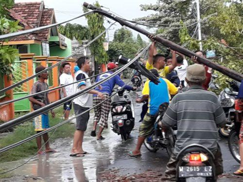 Sejumlah pohon tumbang dan rumah warga rusak akibat angin e beliung di kecamatan Glagah, Sabtu(12/1/2019) siang.