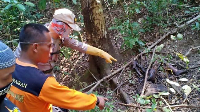 HILANG : Kondisi mayat Samo saat akan di evakuasi petugas. (ist)