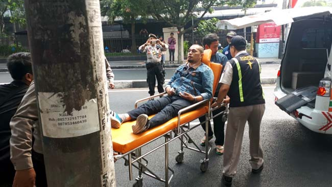 Jawad, staf KPU Kota Malang, menjadi korban penyerangan. (ist)