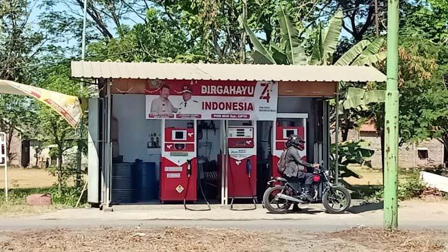 POM MINI - Usaha Pom Mini (Pertamini) inilah yang membuat Cipto warga Desa Kedungcangkring, Kecamatan Jabon, Sidoarjo diperiksa tim penyidik Satuan Reskrim, Polresta Sidoarjo, Selasa (03/09/2019)